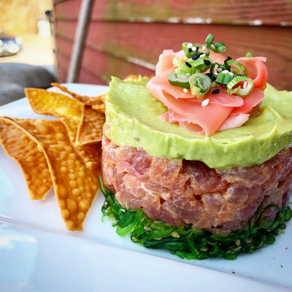 Tuna tare tare stack with tortilla crisps