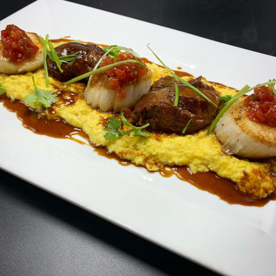 Surf and turf - scallops and beef