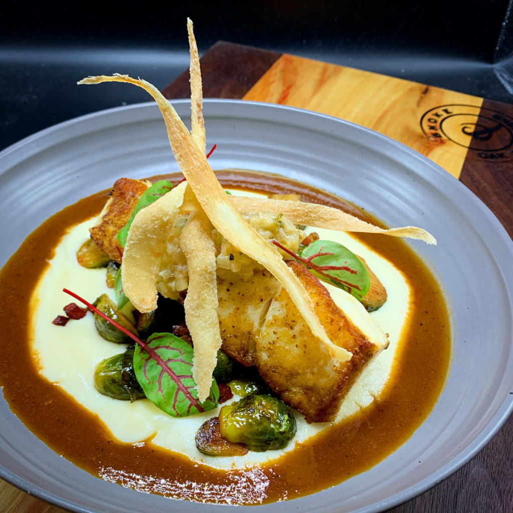Seared fish with brussel sprouts and a puree
